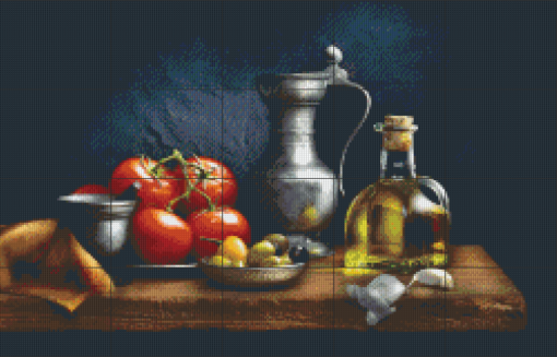 Pixelhobby patroon, Pixel craft patroon Tomatoes and olive oil Harold Ross