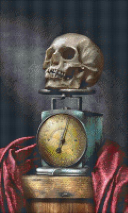 Pixelhobby patroon, Pixel craft patroon Skull on blue scale Harold Ross