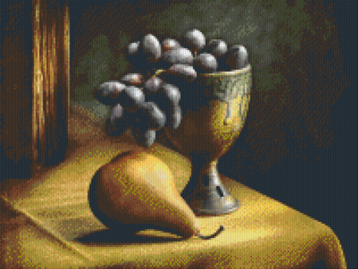 Pixelhobby patroon, Pixel craft patroon Still Life with grapes Harold Ross