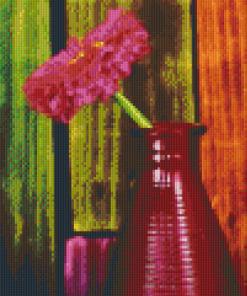 Pixelhobby patroon, Pixel craft patroon 3 luik bloem in rodevaas